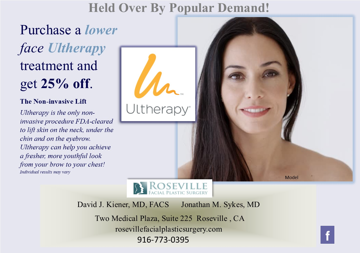 Roseville Facial Plastic Surgery Ultherapy Special